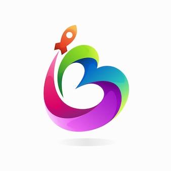 Logo de fusée avec le concept de la lettre b