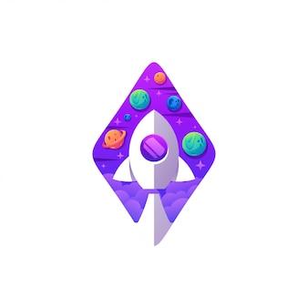 Logo de fusée couleur moderne