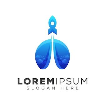 Logo de fusée moderne, modèle de logo de lancement de fusée