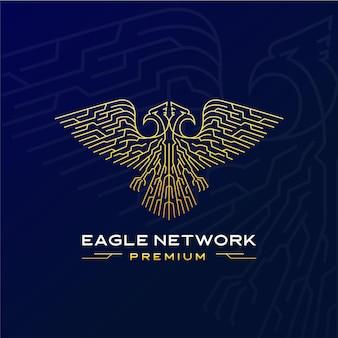 Logo futuriste de réseau d'aigle avec deux têtes