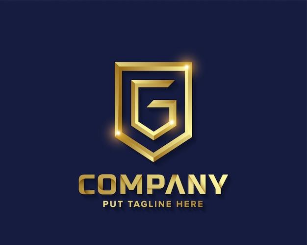 Logo g de lettre de doré avec lettre d'or