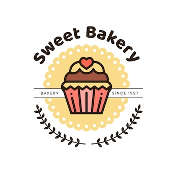 Logo de gâteau de boulangerie mignon