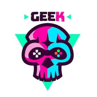 Logo de geek crâne minimaliste simple