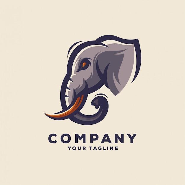 Logo génial avec tête d'éléphant