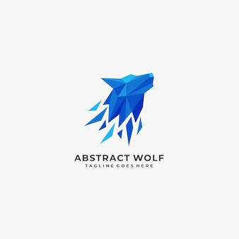 Logo géométrique abstrait de loup.