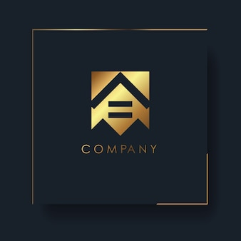 Logo géométrique abstrait maison dorée