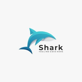 Logo géométrique de requin.