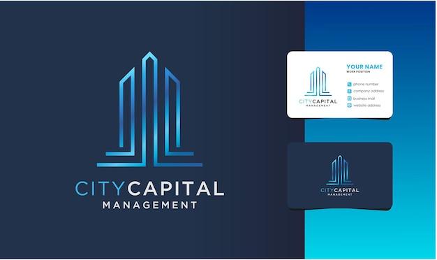 Logo de gestion de capital d'appartement avec conception de carte de visite.
