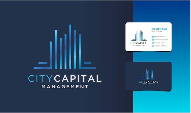 Logo de gestion de la capitale de la ville avec conception de carte de visite.