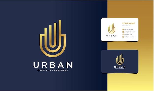 Logo de gestion du capital urbain avec conception de carte de visite.