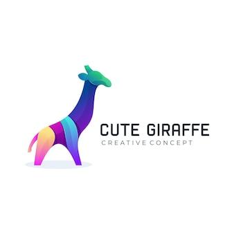Logo girafe mignon dégradé moderne coloré