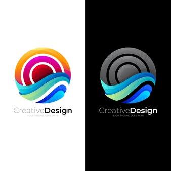 Logo globe et combinaison de conception de vague d'eau, logos de soleil et de vague