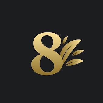 Logo golden number eight avec des feuilles d'or. logo naturel numéro 8 avec feuille d'or.