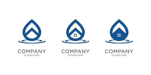 Logo de goutte d'eau en forme de maison