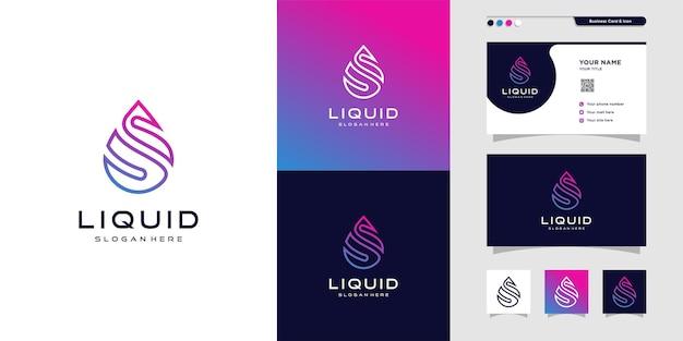 Logo de goutte liquide et conception de carte de visite dégradé goutte icône idée de couleur moderne vecteur premium