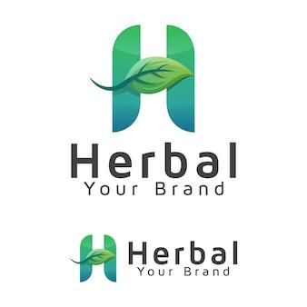 Logo de gradient médical à base de plantes, lettre h avec modèle de concept de logo de feuille