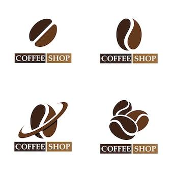 Logo de grain de café et vecteur d'image de magasin de symboles