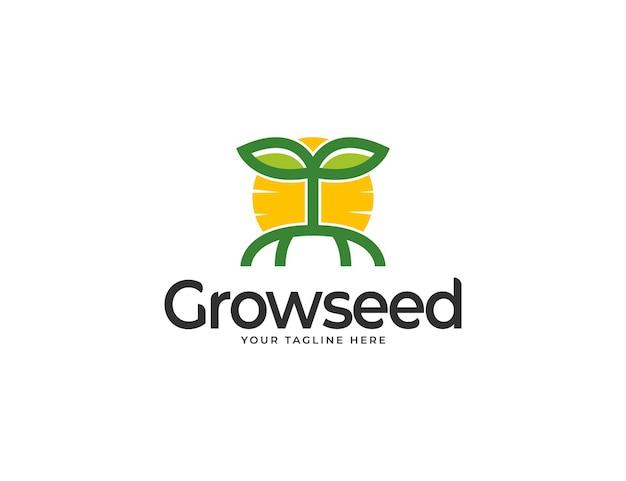 Logo de graines en croissance avec illustration du soleil et des feuilles