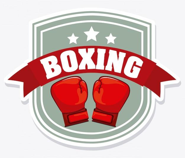 Logo graphique de bouclier de boxe