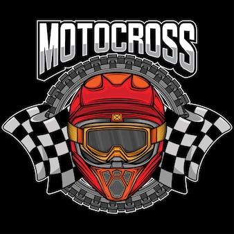 Logo Graphique Du Casque De Motocross Vecteur Premium
