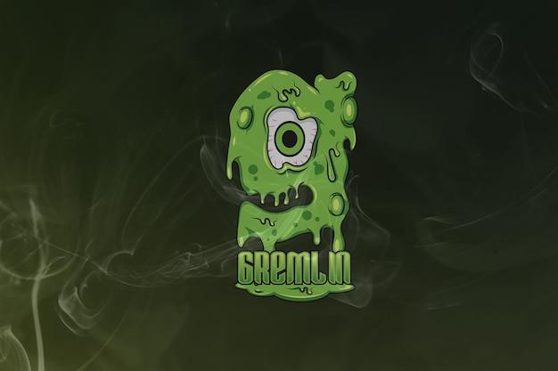 Logo gremlin monogram esport premium