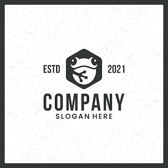 Logo de grenouille, pour les marques, icône, mignon, avec concept hexagonal