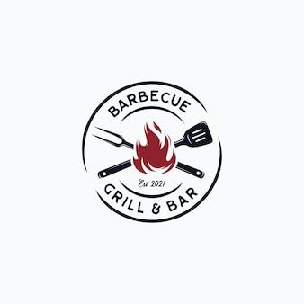 Logo grillé de steak de barbecue vintage