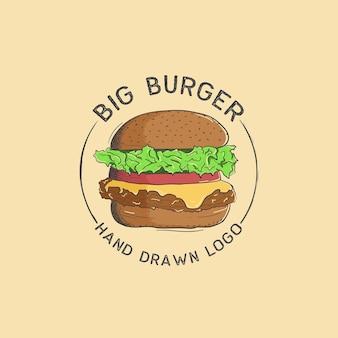 Logo de gros hamburger dessiné à la main