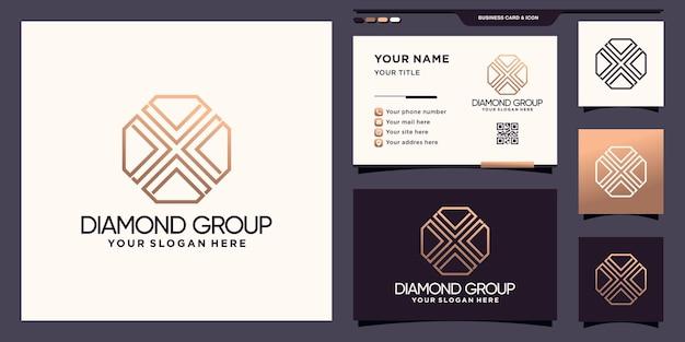Logo de groupe de diamants créatifs avec style de dessin au trait et conception de cartes de visite vecteur premium