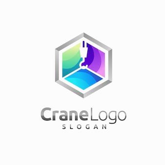 Logo de grue avec concept de boîte