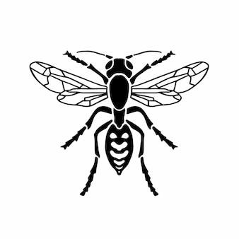 Logo guêpe symbole conception pochoir tatouage illustration vectorielle