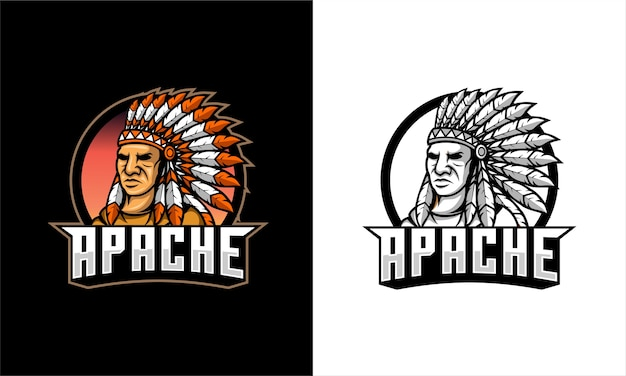 Logo de guerrier apache
