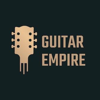 Logo de guitare acoustique plat en noir et or