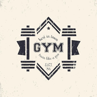 Logo de gym vintage grunge, logotype avec haltères, illustration vectorielle