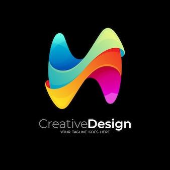 Logo h abstrait avec illustration de conception colorée, icônes 3d