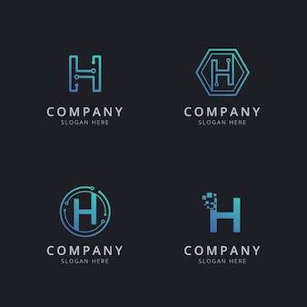 Logo h initial avec éléments technologiques de couleur bleue