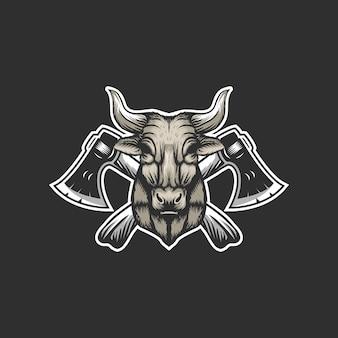Logo de hache de vache