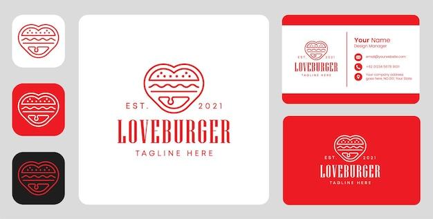 Logo de hamburger d'amour avec un design stationnaire