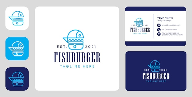 Logo de hamburger de poisson avec un design stationnaire