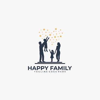 Logo happy family silhouette