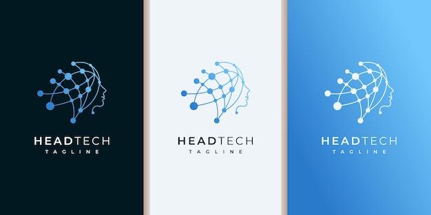 Logo head tech, inspiration de conception de logo de technologie robotique