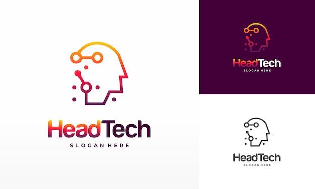 Logo head tech, vecteur de concept de logo pixel head, modèle de logo de technologie robotique conçoit illustration vectorielle