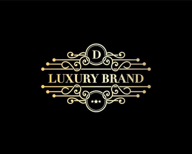 Logo héraldique d'emblème calligraphique victorien de luxe rétro antique avec ornement décoratif