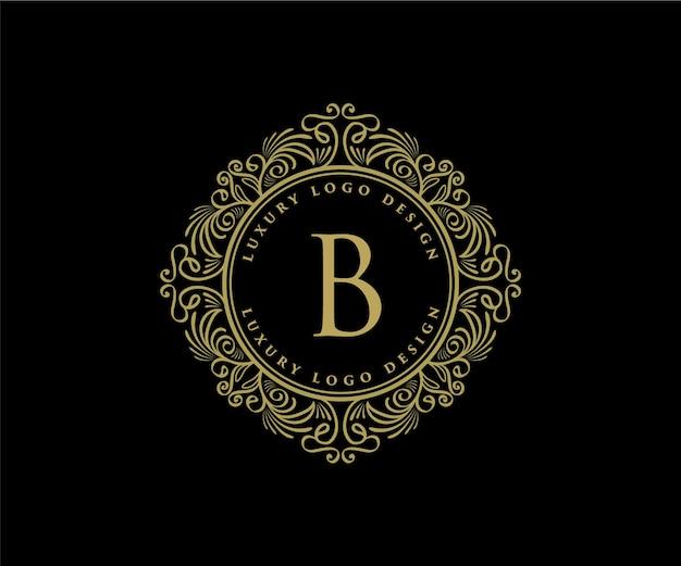 Logo héraldique de luxe rétro vintage avec cadre ornemental pour café-restaurant d'hôtel et bijoux