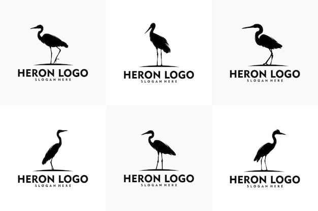 Logo Héron Simple Concept Art Vectoriel Vecteur Premium