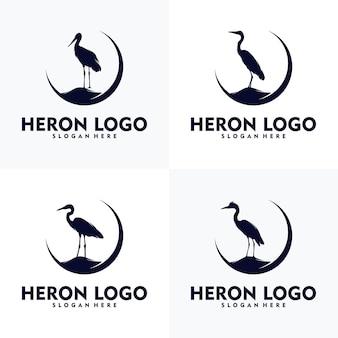 Logo héron simple concept art vectoriel