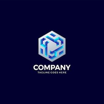 Logo hexagonal abstrait