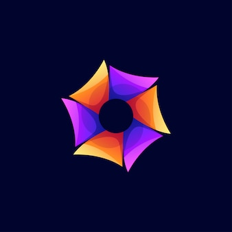 Logo hexagonal de couleur moderne abstrait