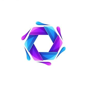 Logo hexagonal de couleur moderne