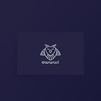 Logo de hibou, conception de ligne sur carte